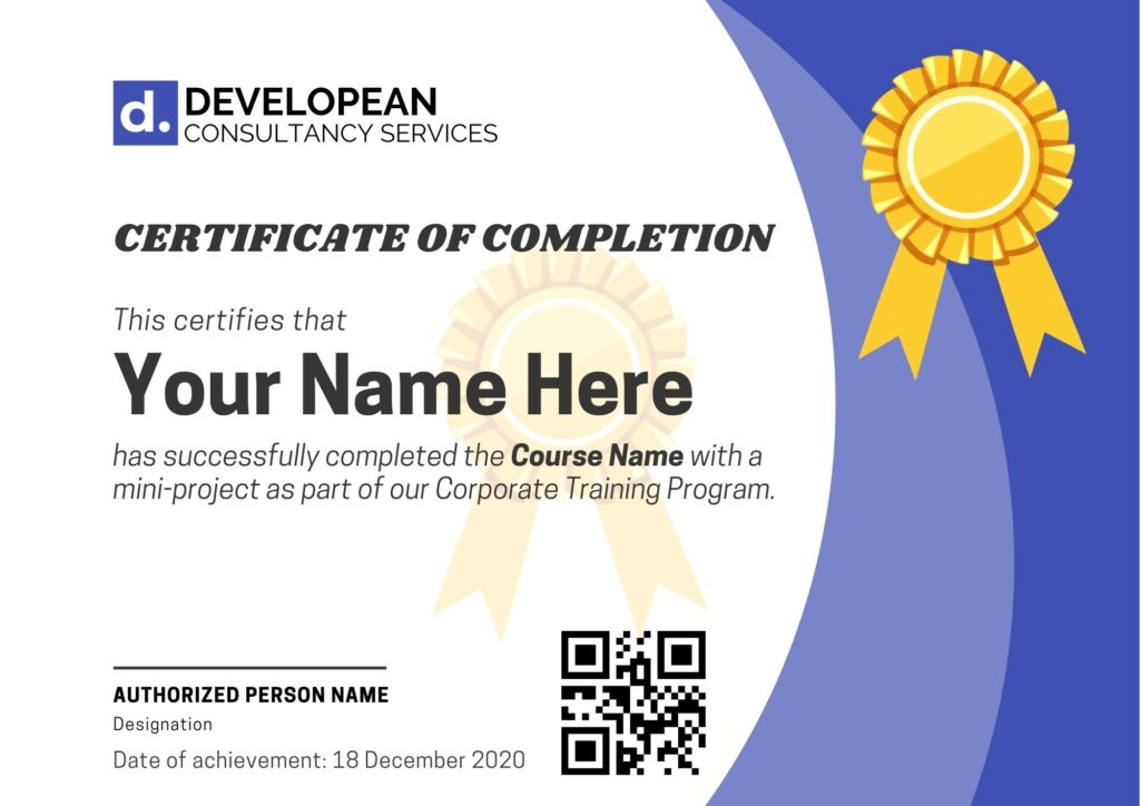 Sample Certificate Corporate Training Developean Consultancy Services